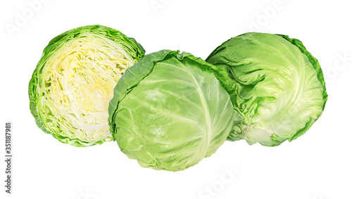 Photo Green cabbage isolated on white background
