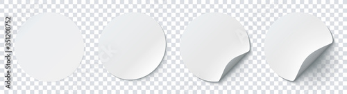 Wall mural Mockup realistic paper round stickers white colors with curved corner and shadow. White round sticker on a transparent background. Vector illustration EPS10