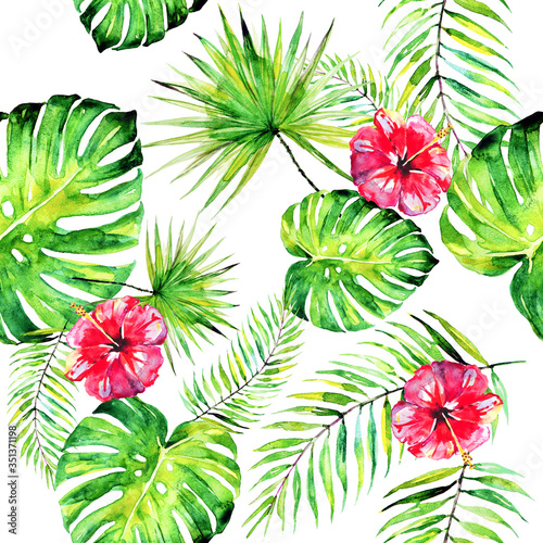 palm leaves pattern, watercolor on a white