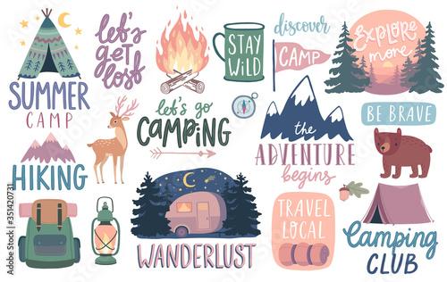Cuadros en Lienzo Camping, Hiking, Adventure letterings