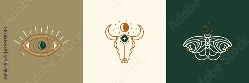 Obraz na płótnie A set of mystical and esoteric logos in a trendy minimal linear style