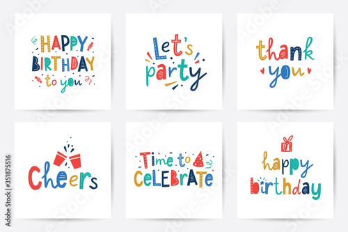 Canvas Print happy birthday vector set of cards with lettering