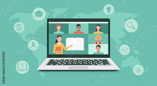 Photo online education or e-learning, home school, teacher teaching students on comput