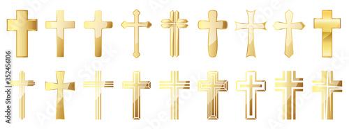 Fotografia, Obraz Christian Cross icons set. Gold vector christian cross