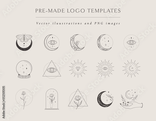 Fényképezés Collection of vector hand drawn logo design templates and elements, frames, detailed decorative illustrations and icons for various ocasions and purposes