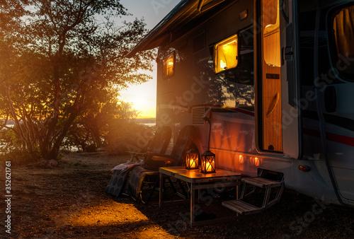RV Camper Van Camping Warm Night Fototapeta