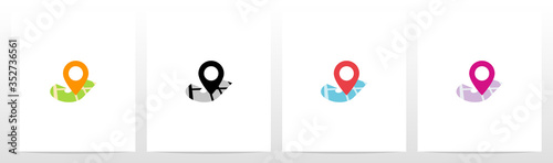 Fotografie, Obraz Location Pin On Letter Logo Design J