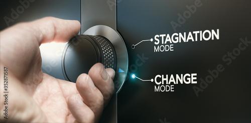 Obraz na płótnie Overcoming stagnation, switching career to evolve.