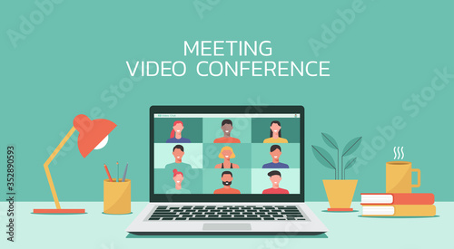 Foto people connecting together, learning or meeting online with teleconference, vide
