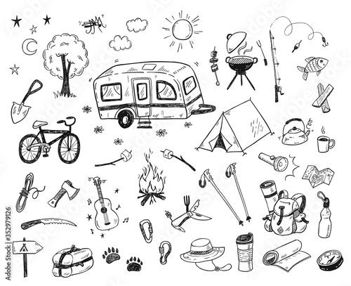 Fotografie, Obraz Hand drawn doodle camping vector elements, icons set with bonfire, adventure, hi