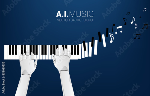 Fototapeta Pianist robot hand with piano key transform to music note
