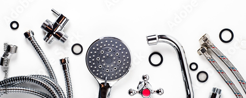 Fotografija Set of plumbing for bathroom or shower on a white background