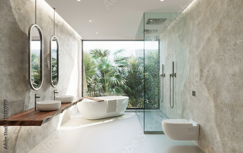 3d Tropical bathroom with stone walls and contemporary minimal design with jungl Poster Mural XXL