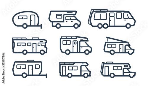 Fotografija RV Cars, Recreational Vehicles, Camper Vans Icons in Outline Style