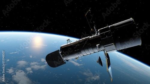 Canvastavla Hubble telescope in orbit of the Earth, Hubble Space Telescope 3d render