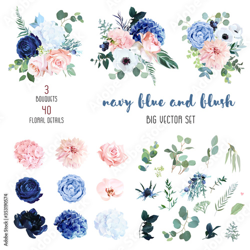 Cuadros en Lienzo Classic navy blue, white, blush pink rose, hydrangea, ranunculus, orchid