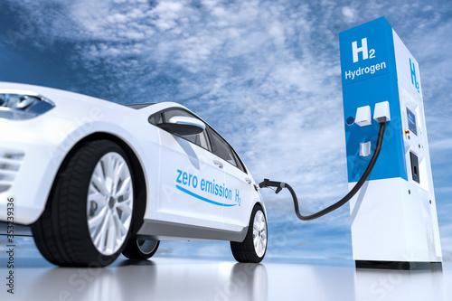 Stampa su Tela hydrogen logo on gas station