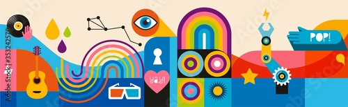 Fotografie, Tablou Geometric abstract background, street wall art concept, festival, street fair, carnival event poster, banner design