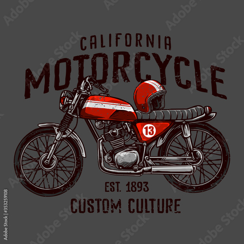 Fotografia vector of vintage custom motorcycle with classic helmet