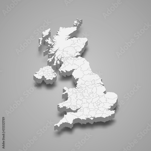 United Kingdom 3d map with borders Template for your design Fototapete