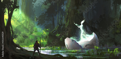 Stampa su Tela Alien in the forest, digital painting.