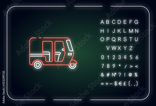 Fotografie, Obraz Auto rickshaw neon light icon
