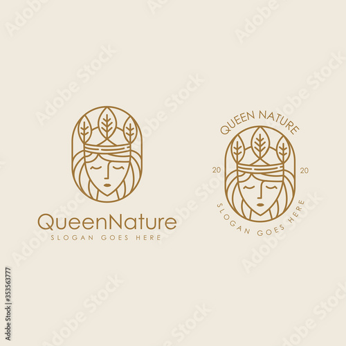Fotografia Queen of the nature logo icon set with lineart style