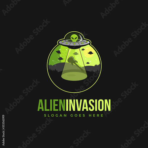 Alien invasion emblem logo vector Fototapeta