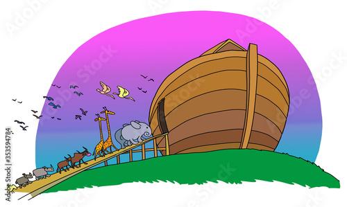 Fotografia Different animals come in the ark of Noah.
