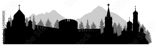 Fotografie, Obraz Russia, silhouette of Kremlin palace, fortress, cathedral, forest and mountains