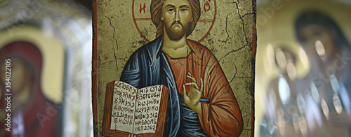 Fotografija Kalambaka, Greece - September 17, 2019: Orthodox icons in a church shop, church