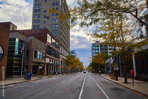 Fotografia, Obraz Downtown Street Fort Wayne Indiana