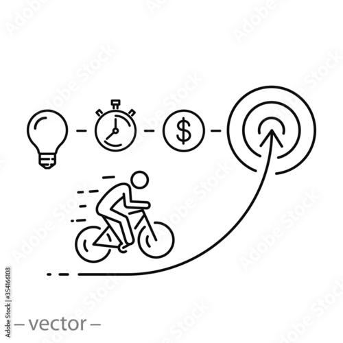 Fototapeta business progress icon, employee success in career target, thin line web symbol
