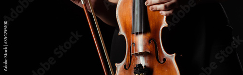 partial view of professional musician holding violin isolated on black, panoramic concept