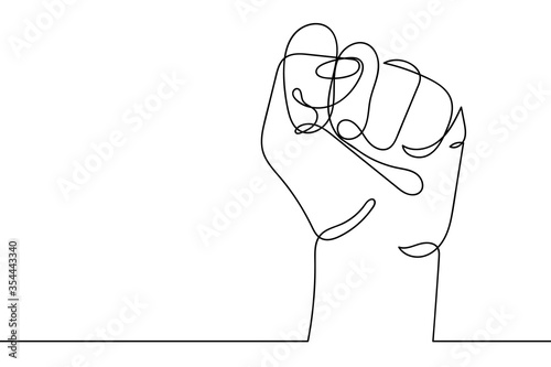 Carta da parati Continuous line drawing of strong fist raised up
