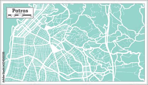 Fotografie, Obraz Patras Greece City Map in Retro Style. Outline Map.
