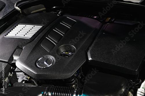 фотография Close up detailed shot of car engine of luxury  Mercedes-Benz GLC The 2