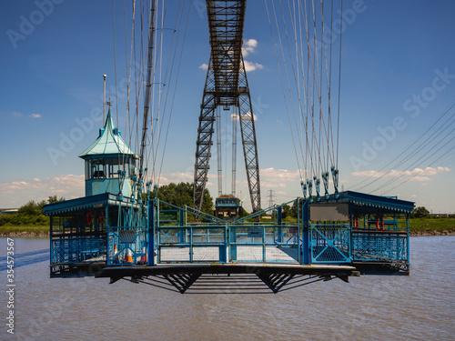 Fototapeta Newport Transporter Bridge from south eastern bank of River Usk,  Newport, Wales