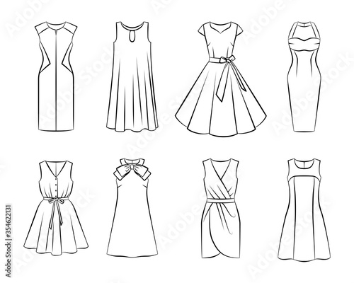 Fotografering Collection of woman fashion dress