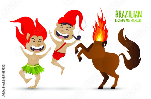 Photo vector illustration the character of Brazilian legends and folklore stories, Cur