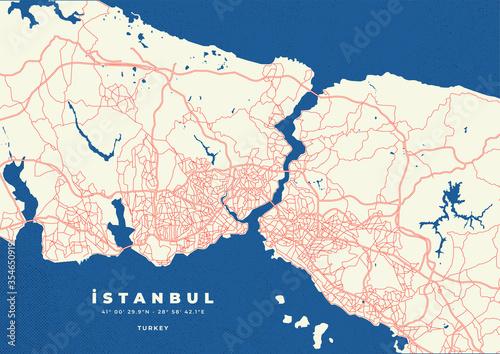 Obraz na plátně Istanbul city map vector poster