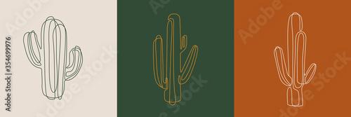 Fototapeta Line art cactus illustrations. Eps10 vector.