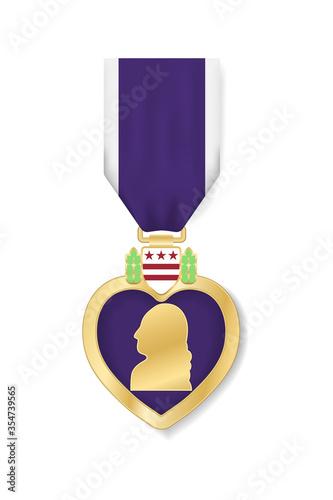 Purple Heart Day poster design, banner, USA greeting card Fototapete