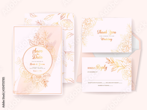 Photo Wedding invitation card template set with gold floral frame, border, and pattern