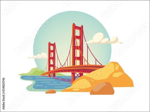 Photo golden gate bridge of san francisco california usa isolated vector illustration