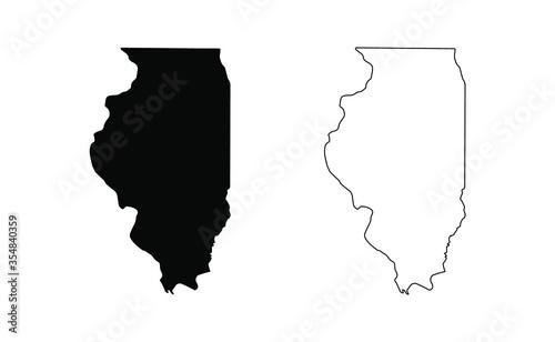 Fotografia Illinois state silhouette, line style