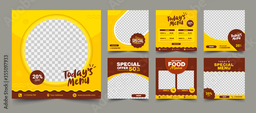 Set of Editable square banners. Food instagram post template design. Suitable for Social Media Post Restaurant and culinary Promotion. Red and yellow background color with stripe line shape vector.