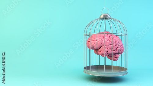 Canvas-taulu Brain on a cage