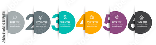Photo Vector Infographic label design with icons and 6 options or steps