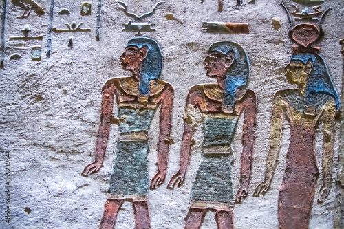 Fototapeta Burial chamber with colorful Egyptian hieroglyphics at the valley of the kings,
